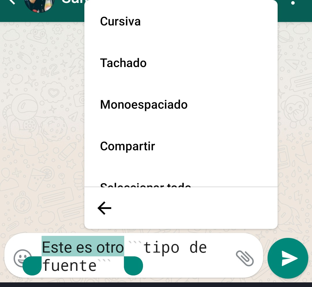 Tipos de letras en WhatsApp